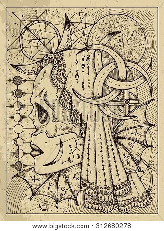 Moon. Mystic Concept For Lenormand Oracle Tarot Card. Vector Engraved Illustration. Fantasy Line Art