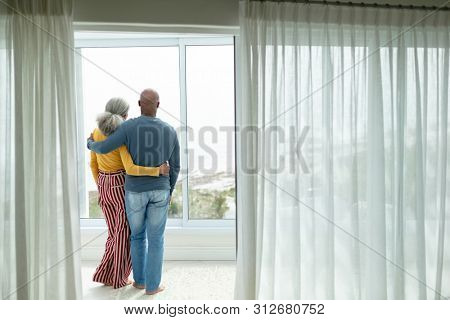 Rear view of active African-american senior couple with arm around standing near window at home