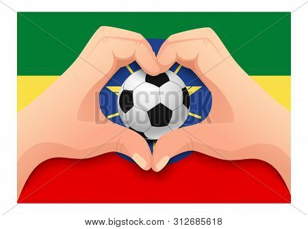 Ethiopia Flag And Hand Heart Shape. National Football Background. Soccer Ball With Flag Of Ethiopia