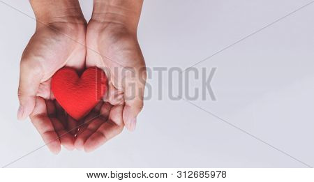 Heart On Hand For Philanthropy Concept / Woman Holding Red Heart In Hands For Valentines Day Or Dona