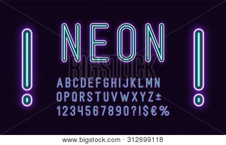 Neon Rounded Alphabet, Violet Azure Color. Neon Outlined Font, Set Of Duotone Glowing Letters, Numbe