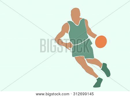 Basketball Player With A Ball. Single Silhouette. Sport Illustration. Applique Or Paper Cut Style. C