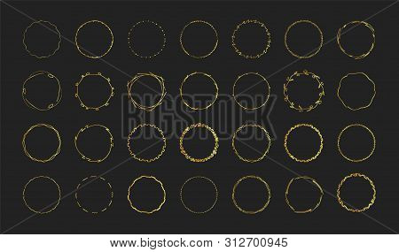 Set Of Gold Hand Drawn Round Frames On Black Background For Premium Design. Elite Jewelry Decor.