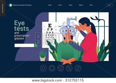 Medical Tests Template - Eye Tests And Prescription Glasses -modern Flat Vector Concept Digital Illu