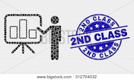 Dotted Bar Chart Public Report Mosaic Icon And 2nd Class Seal Stamp. Blue Vector Rounded Scratched S