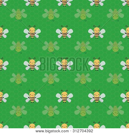Cute Cartoon Honey Bees With Subtle Honeycomb Texture. Seamless Geometric Vector Pattern On Green Ba