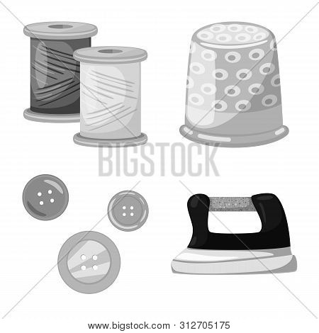 Isolated Object Of Dressmaking And Textile Logo. Collection Of Dressmaking And Handcraft Stock Symbo