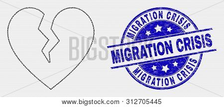 Dotted Broken Heart Mosaic Pictogram And Migration Crisis Watermark. Blue Vector Round Grunge Waterm