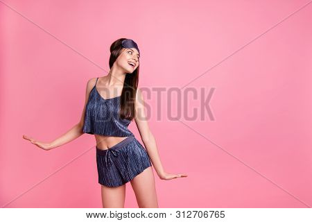 Portrait of her she nice-looking fascinating stunning attractive winsome sweet lovable lovely charming cheerful cheery straight-haired lady having fun isolated over pink pastel background poster