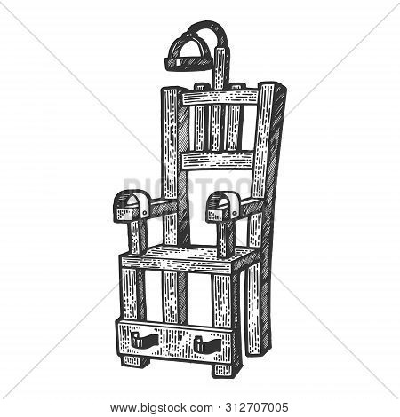 Electric Chair Execution Torture Device Sketch Engraving Vector Illustration. Scratch Board Style Im