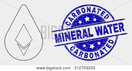 Dot Crystal Drop Mosaic Pictogram And Carbonated Mineral Water Seal Stamp. Blue Vector Rounded Scrat