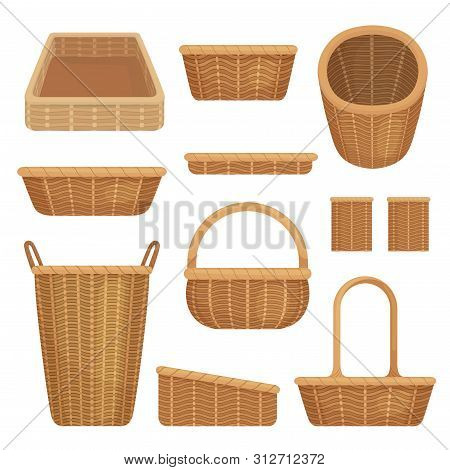 Empty Baskets Set Isolated On White Background. Wicker Picnic Baskets, Easter Holiday, Container Cle