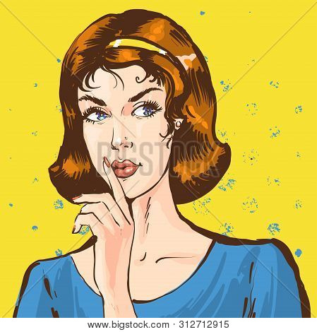 Portrait Of A Young Woman Showing Silence Shhh Sing With Finger, Pop Art Retro Comic Style Illustrat