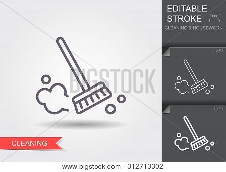 Dust Brush. Line Icon With Editable Stroke With Shadow