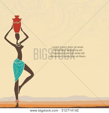 Ethnic Background With African Woman And Stylized African Landscape