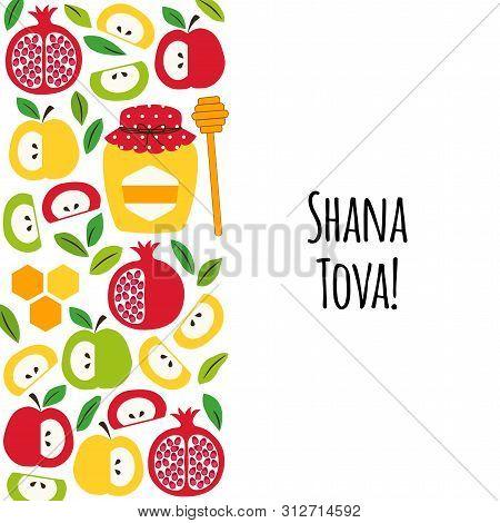 Cute Greeting Banner Background With Symbols Of Jewish New Year Holiday Rosh Hashana, Shana Tova