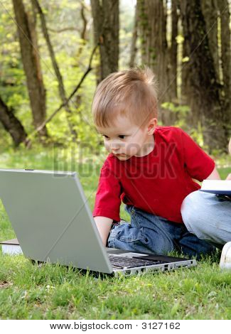 Young Boy On Laptop