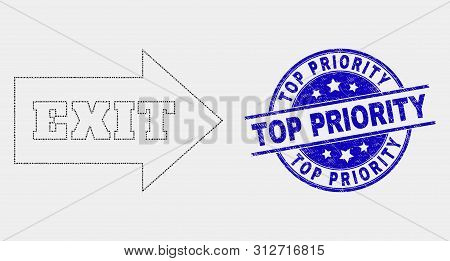 Pixel Exit Arrow Mosaic Icon And Top Priority Stamp. Blue Vector Round Textured Seal Stamp With Top