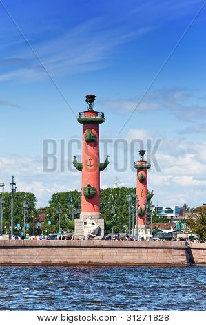 An arrow of Vasilevsky island and Rostral columns. poster