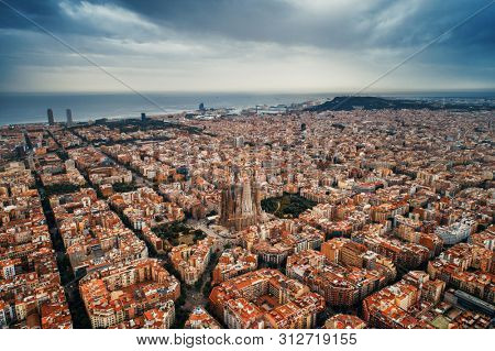 Barcelona skyline aerial view with buildings in Spain.