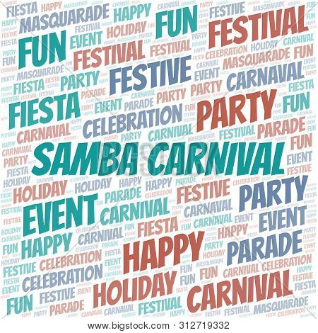 Samba Carnival word cloud vector made with text only poster
