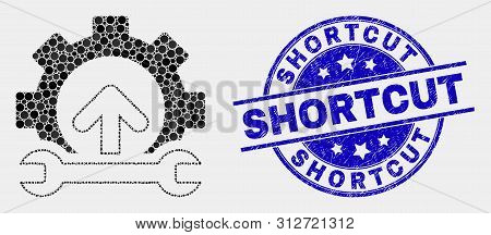 Pixelated Gear Integration Arrow Mosaic Icon And Shortcut Stamp. Blue Vector Rounded Grunge Seal Sta