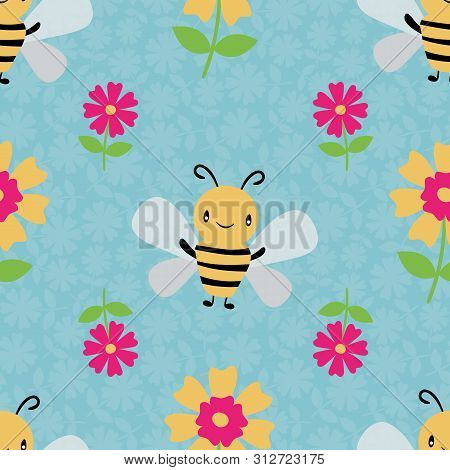 Cute Cartoon Honey Bees And Flowers On Floral Textured Sky Blue Background. Seamless Vector Pattern.