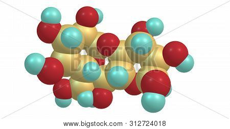 Starch is a polysaccharide. The simplest form of starch is the linear polymer amylose. 3d illustration poster