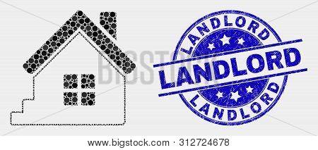 Pixelated Home Mosaic Pictogram And Landlord Seal. Blue Vector Rounded Grunge Stamp With Landlord Te