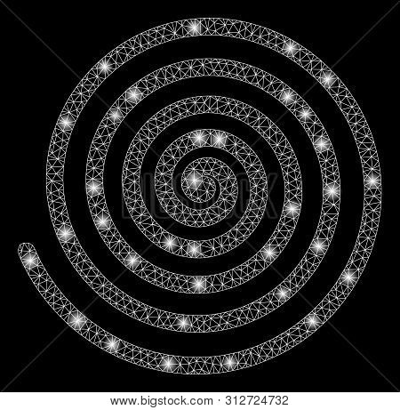 Glowing Mesh Hypnosis Spiral With Glare Effect. Abstract Illuminated Model Of Hypnosis Spiral Icon.