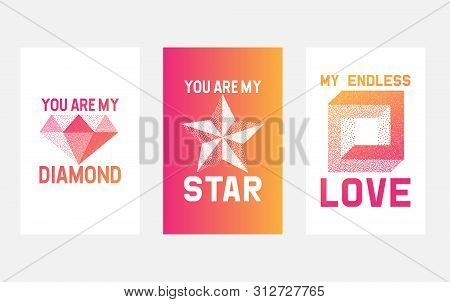 Dotwork Red And Yellow Gradient Vector Symbols Of Love, Star And Diamond. Micro Halftone And Dotwork
