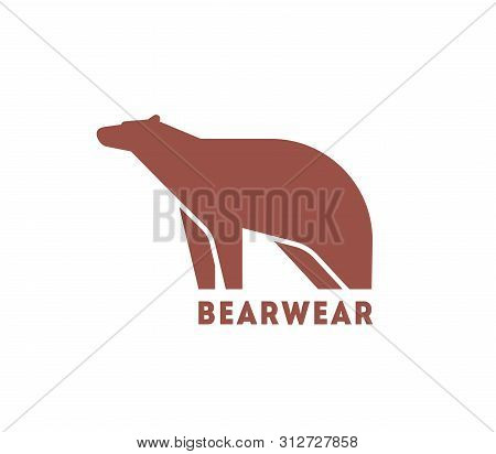 Modern Logotype With Silhouette Of Bear. Logo With Wild Carnivorous Animal For Corporate Identity, C