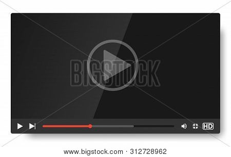 Video Player Template For Web And Mobile Apps. Vector Template Of Video And Audio Player. Classic Bl