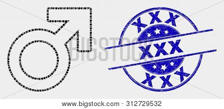 Pixel Male Symbol Mosaic Pictogram And Xxx Stamp. Blue Vector Rounded Distress Seal Stamp With Xxx M