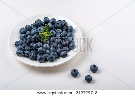 Blueberry Plate On White Background. Healthy Food For Breakfast