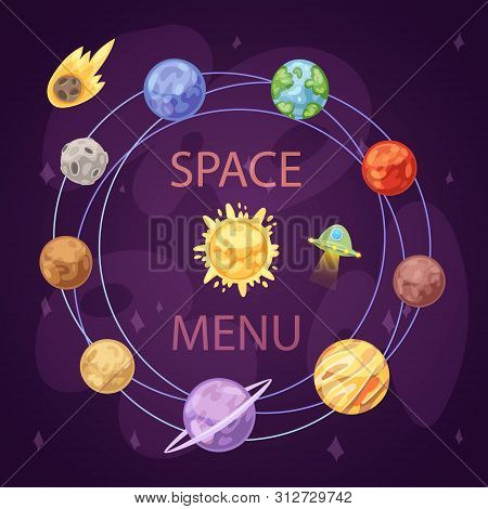 Solar System With Planets, Spaceship And Asteroid Belt On Dark Background Cartoon Vector Illustratio