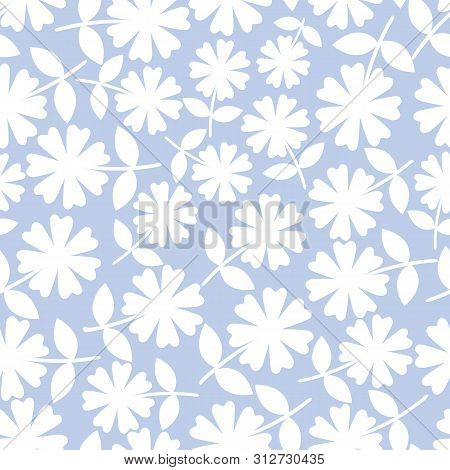 Elegant White Flowers In Ditsy Floral Design. Seamless Vector Pattern On Light Blue Background. Grea