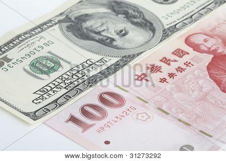 US dollar and New Taiwan dollar