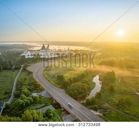 Aerial View On New Jerusalem Monastery On Sunrise In Istra, Moscow Oblast, Russia