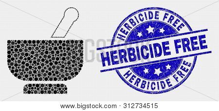 Dot Mortar Mosaic Icon And Herbicide Free Seal Stamp. Blue Vector Round Distress Seal Stamp With Her