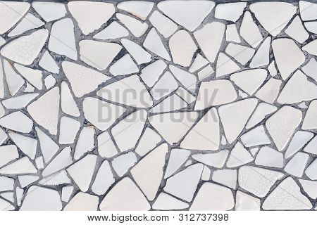 Broken Tiles Mosaic Seamless Pattern. White And Gray Wall Tile Texture