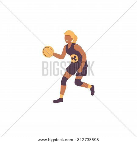 Happy Woman Plying Basketball Game. Flat Vector Illustration.