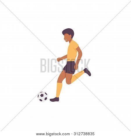 Happy Guy Plying Football Game. Flat Vector Illustration.
