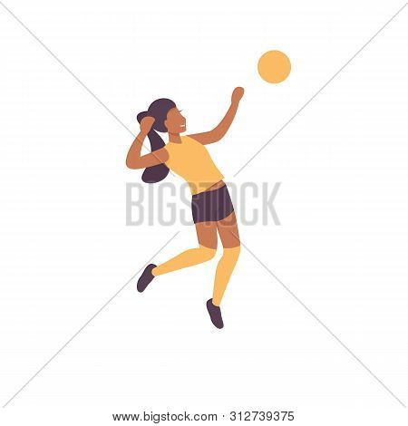 Happy Woman Plying Volleyball Game. Flat Vector Illustration.