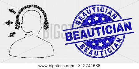 Pixel Radio Operator Mosaic Pictogram And Beautician Seal Stamp. Blue Vector Round Distress Stamp Wi