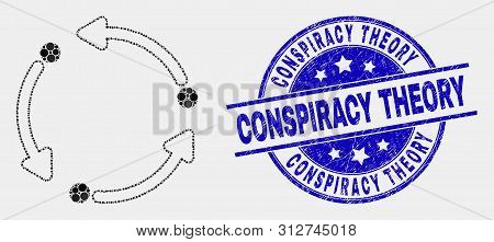Pixel Rotation Arrows Mosaic Icon And Conspiracy Theory Seal. Blue Vector Round Grunge Seal With Con