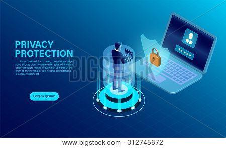 Banner With Businessman Protect Data And Confidentiality On Computer. Data Protection And Security A