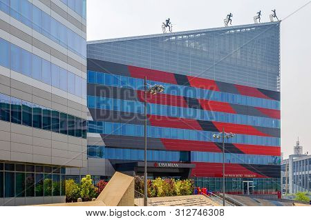 Milan, Italy - June 29, 2019: Casa Milan, A Building Which Houses The Headquarters Of The Milan Foot