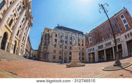 Milan, Italy - June 29, 2019: Piazza Degli Affari With The Palazzo Mezzanotte Also Called Palace Of