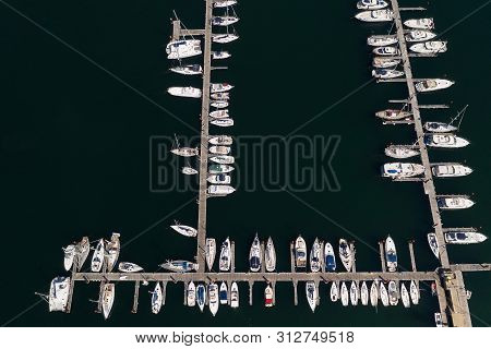 White Sailing Yachts In The Port, Top View